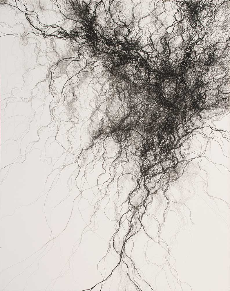 "Big Tangle, 60"" x 48"", charcoal and pencil on paper"