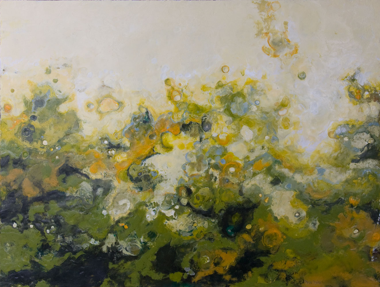 "Bloom in Green, 36"" x 48"", encaustic"