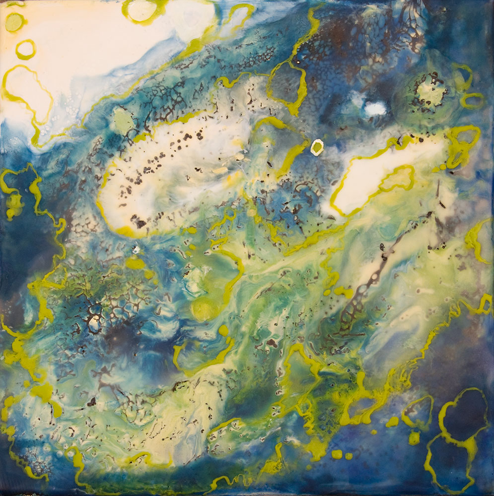 "Blue Planet, 12"" x 12"", encaustic"