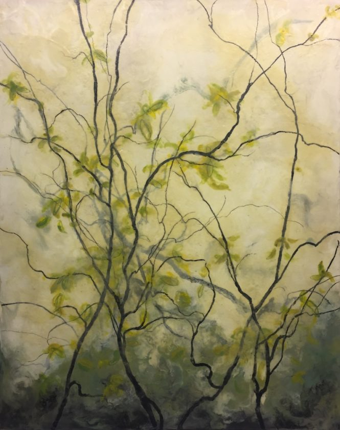 "Branches, 60"" x 48"" encaustic"