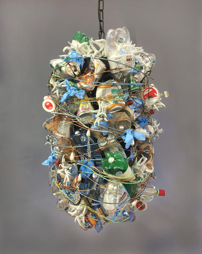 "Chandelier, 32"" x 22"" x 22"" found objects, mixed media"