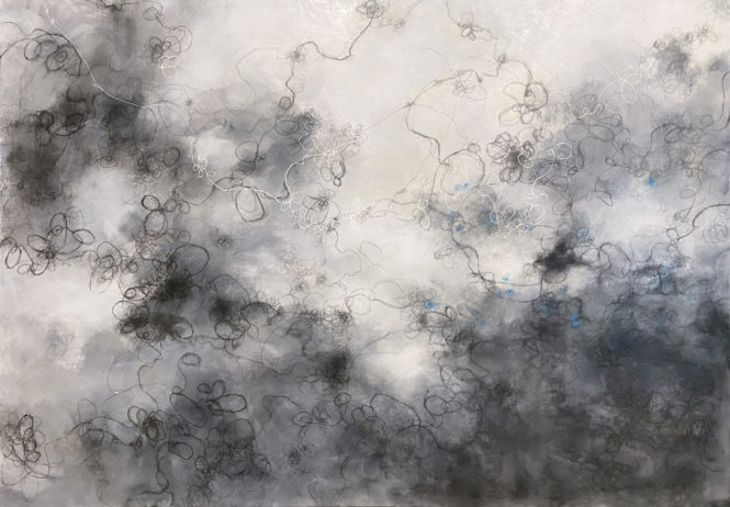 Clearing, 40in x 60in, encaustic on panel