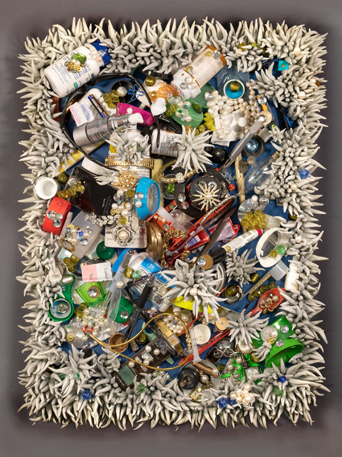 Current State, 25 x 19 x 7 in, found objects, resin, beads