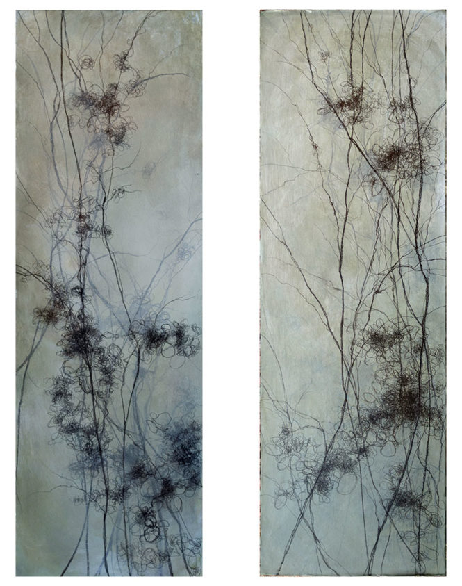 "Entwined, 2 @ 36"" x 12"", mixed media"