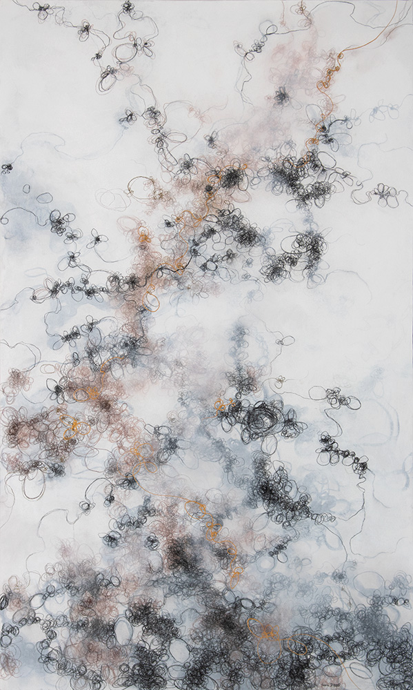 Gold Meander, 60in x 36in, mixed media on panel