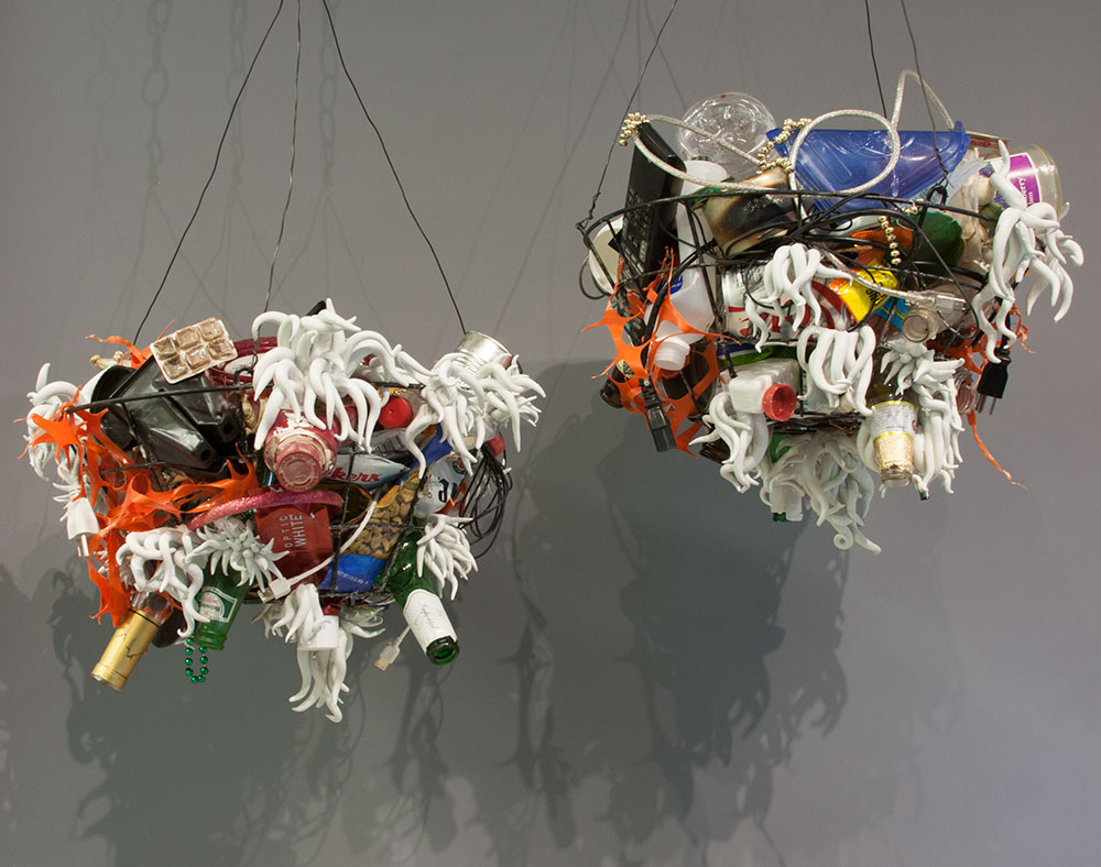 These baskets made of found garbage hang outside of my studio