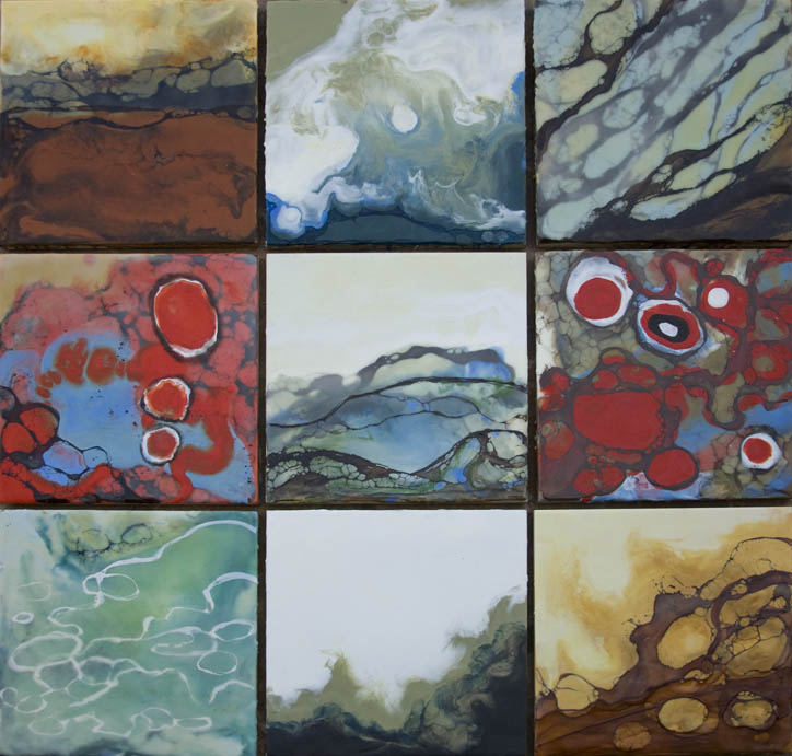 "Landscape Alphabet, 9 @ 12"" x 12"", encaustic. These are separate squares that can be hung in any configuration."