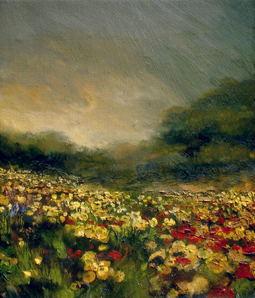 "Looking for Flowers, 7.25"" x 6.25"", oil"