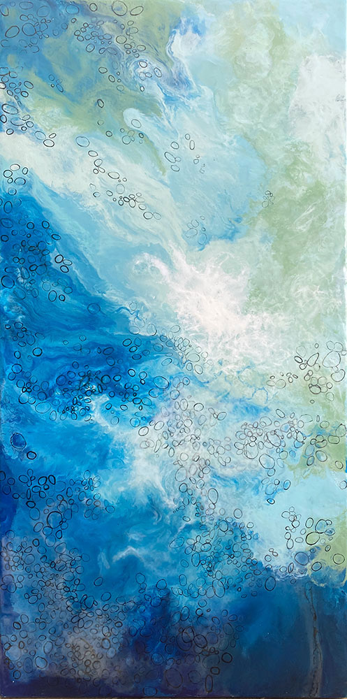 """Melted Sea, 60"""" x 30"""" encaustic on panel"""