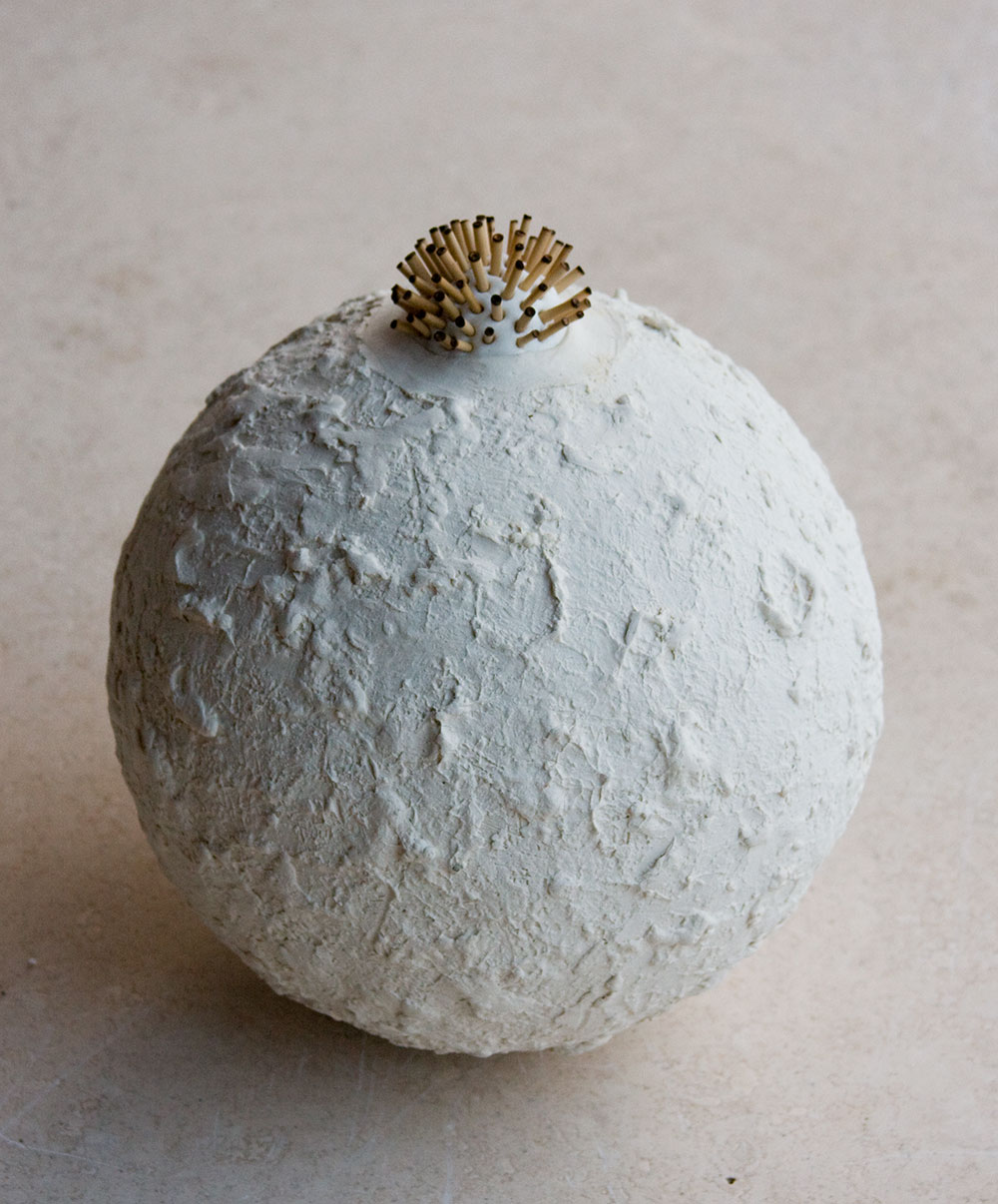 "Miscelle, 5"" sphere, stoneware -(sold)"