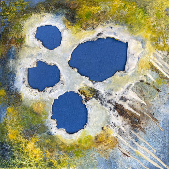 Perfect Blue, 12 in x 12 in, oil and encaustic