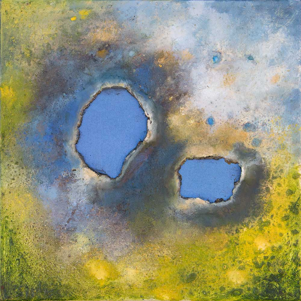 "Perfect Blue, 12""x12"" oil and encaustic"