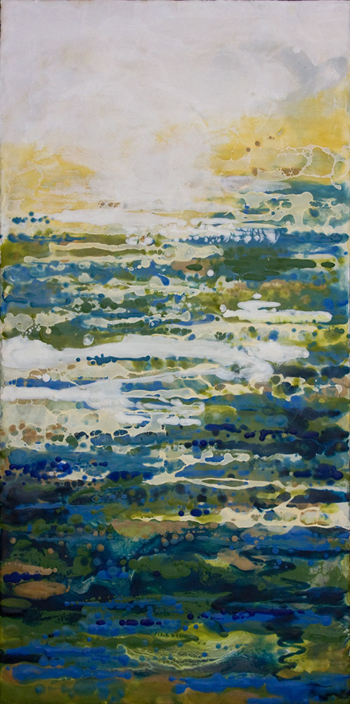 "Scintillo, 48"" x 24"", encaustic"