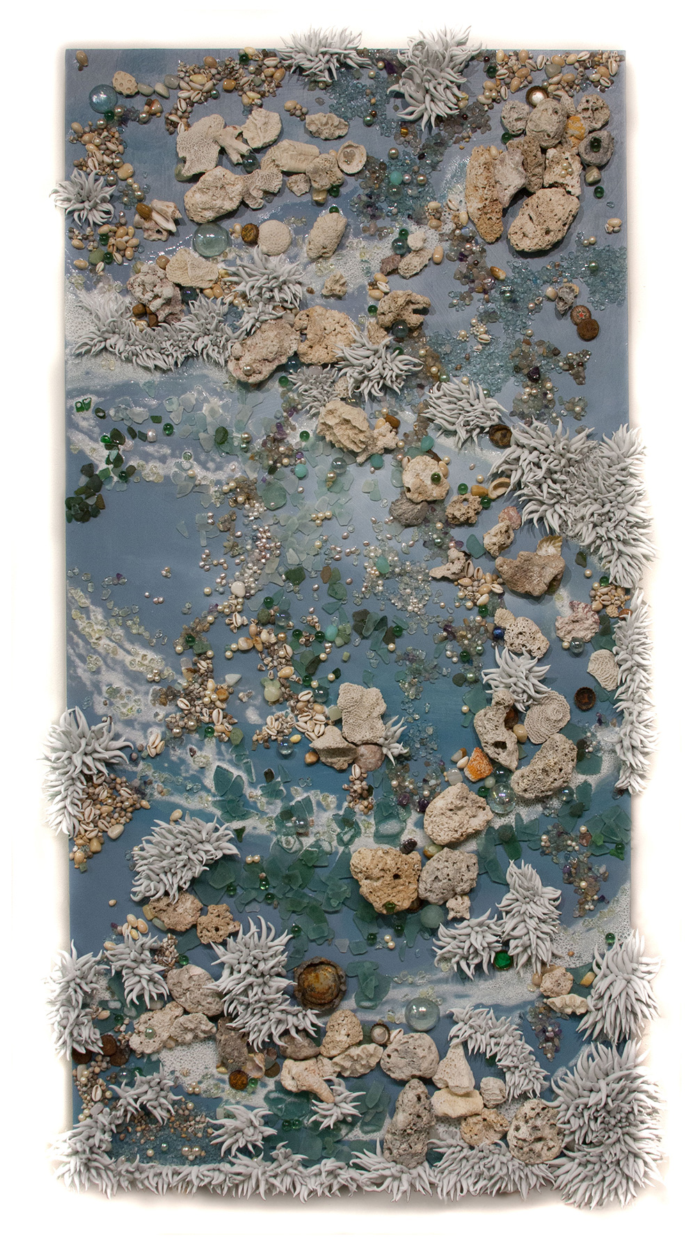 "Sea and Foam, 48"" x 24"", oil, coral, resins, beads and found objects (sold)"
