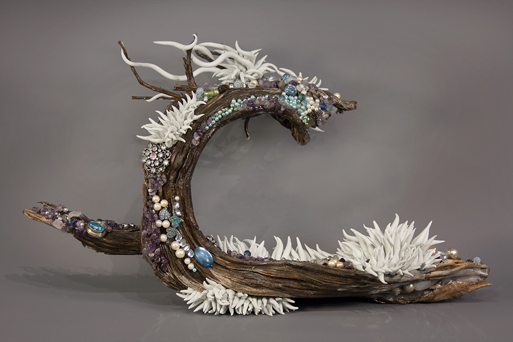 "Shifting Tide, wood, resin, beads, 14"" x 11"" x 6"", (sold)"