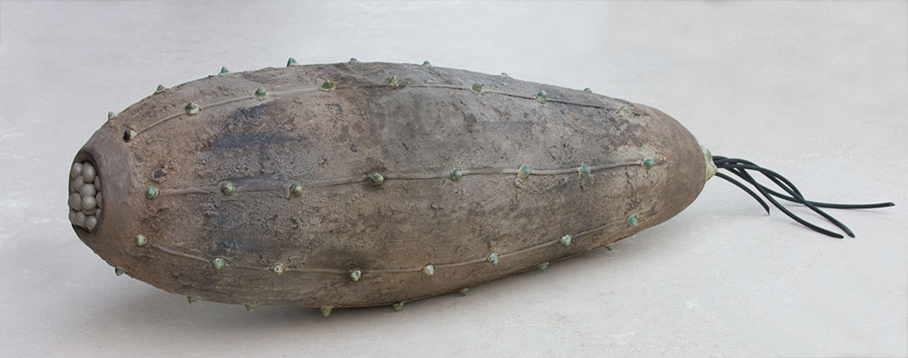 "Spike Pod, 54"" x 13.5"", stoneware, resin"