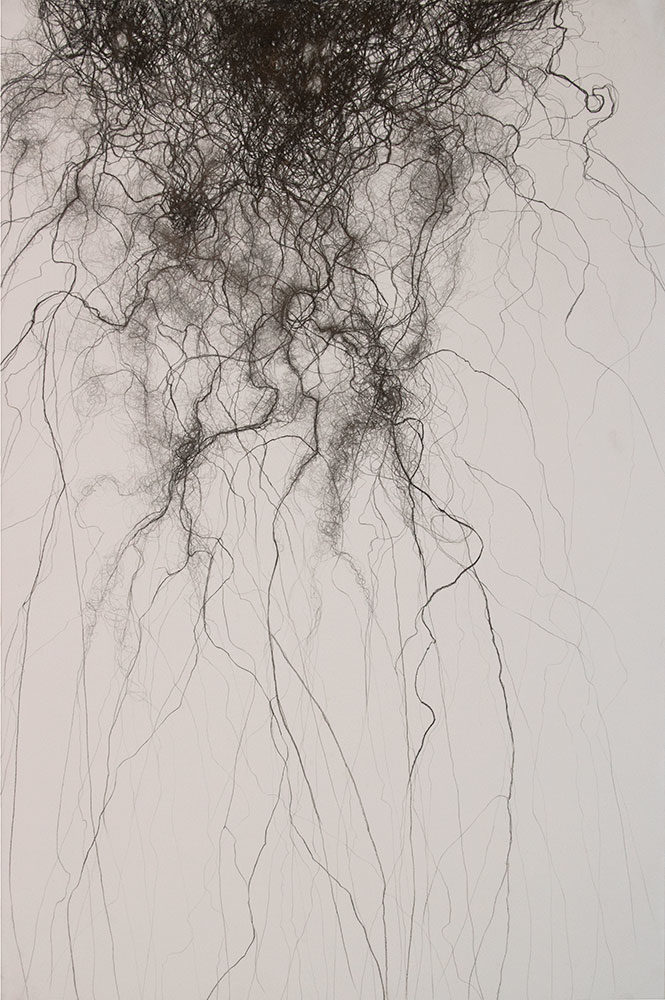 "Tangle, charcoal, 40"" x 26.4"" (sold)"