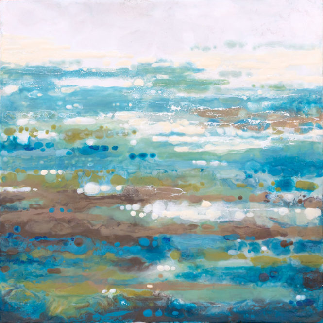 "Water Sparkle, 36"" x 36"" encaustic"