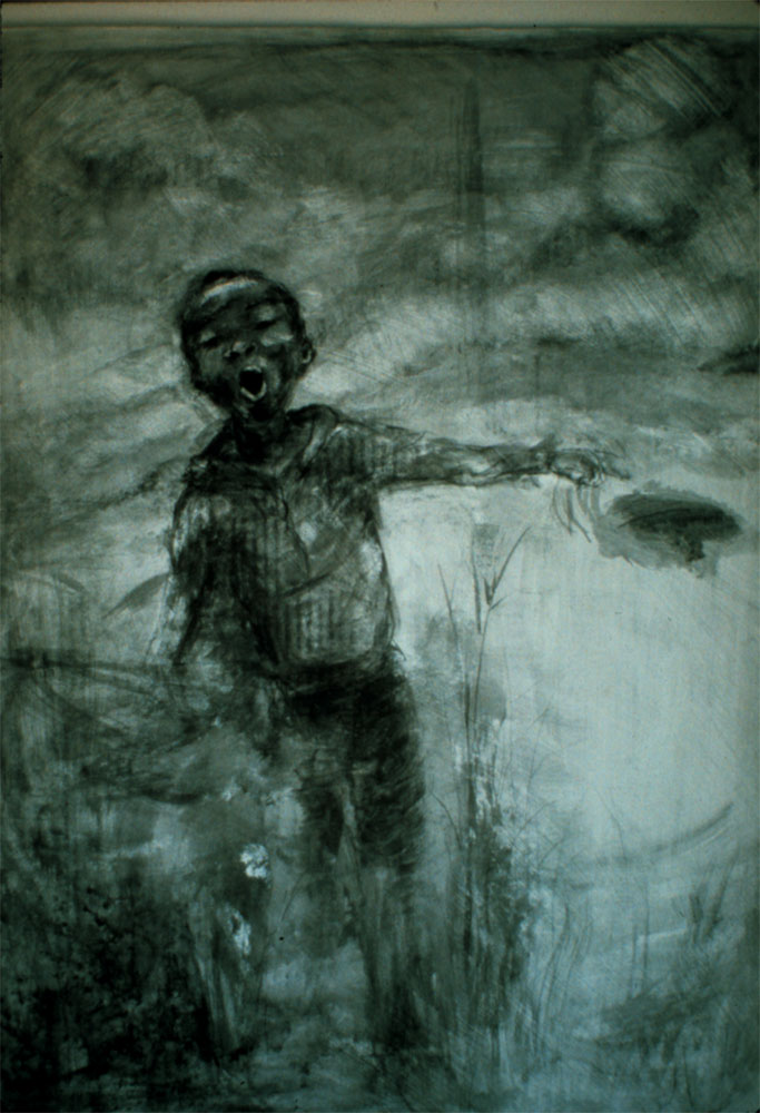 """Willie in the Country, 36"""" x 24"""", litho crayon"""